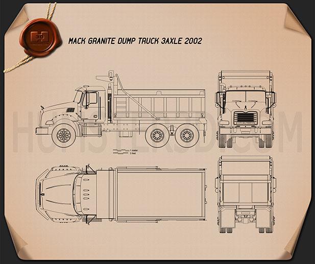 Mack Granite Dump Truck 2002 Blueprint