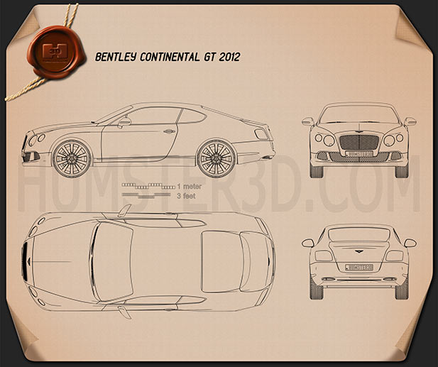 Bentley Continental GT 2012 Blueprint