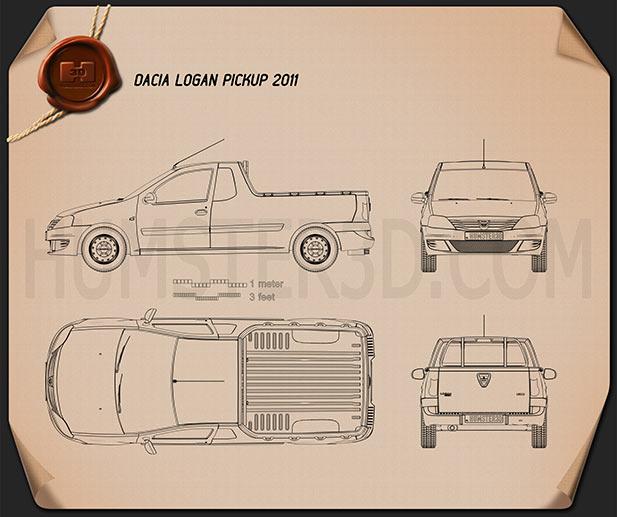 Dacia Logan Pickup 2011 Blueprint