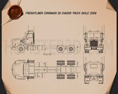 Freightliner Coronado SD Chassis Truck 2009 Blueprint