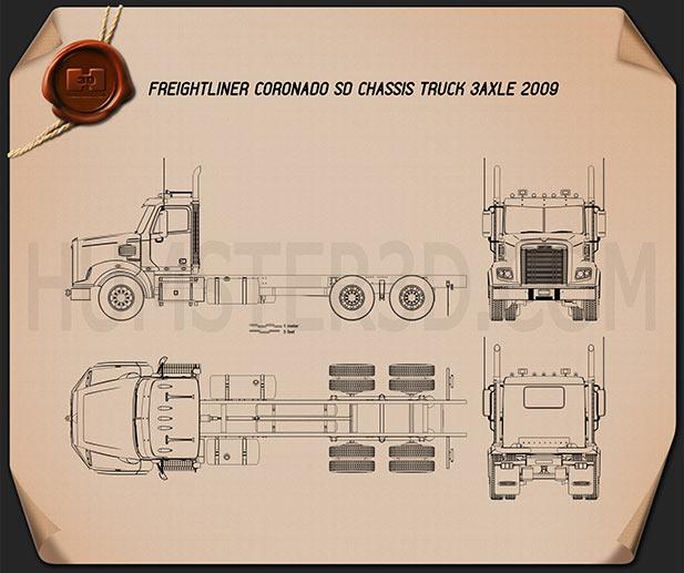 Freightliner Coronado SD Chassis Truck 2009 Blueprint