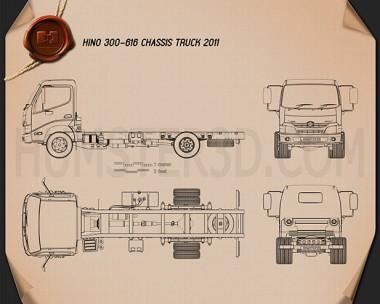 Hino 300-616 Chassis Truck 2011 Blueprint