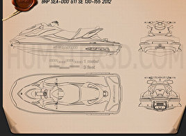 BRP Sea-Doo GTI SE 130/155 2012 Blueprint