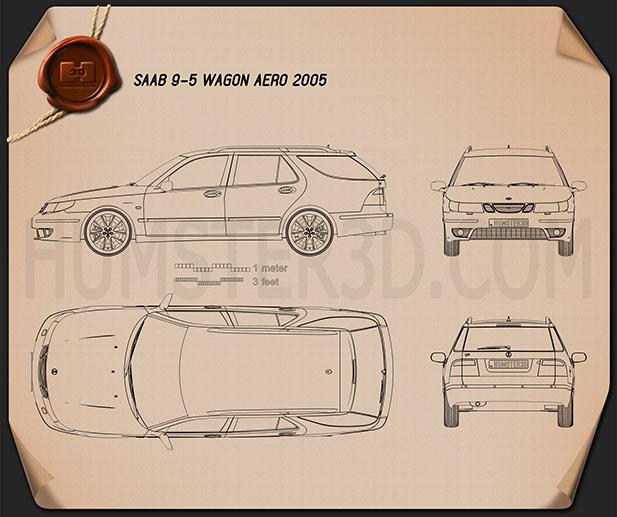 Saab 9-5 Aero wagon 2005 Blueprint