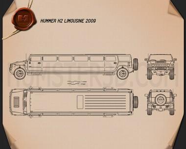 Hummer H2 Limousine 2010 Blueprint