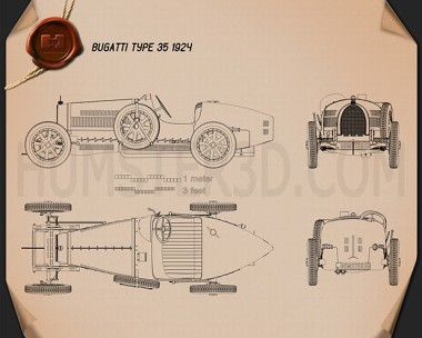 Bugatti Type 35 1924 Blueprint