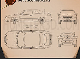 Saab 9-3 convertible 2008 Blueprint