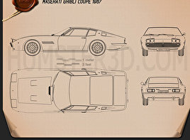 Maserati Ghibli coupe 1967 Blueprint