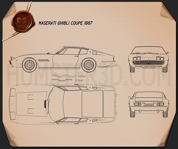 Maserati Ghibli coupe 1967 Blueprint