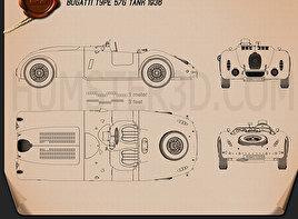 Bugatti Type 57G Tank 1936 Blueprint