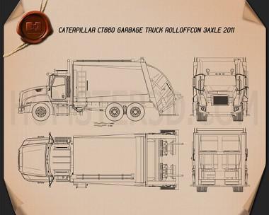 Caterpillar CT660 Rolloffcon Garbage Truck 2011 Blueprint