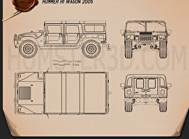Hummer H1 wagon 2005 Blueprint