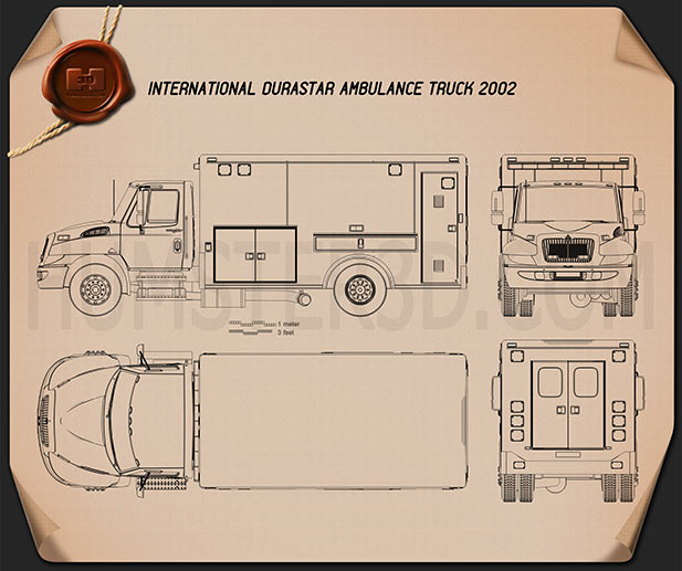 International Durastar Ambulance 2002 Blueprint