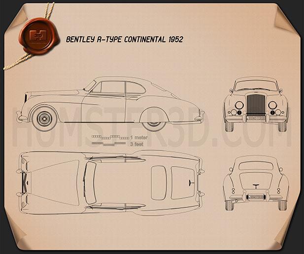 Bentley R-Type Continental 1952 Blueprint