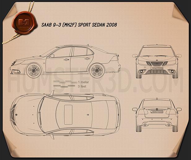 Saab 9-3 Sport Sedan 2008 Blueprint