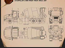 Caterpillar CT660 Mixer Truck 2011 Blueprint