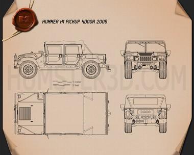 Hummer H1 pickup 2005 Blueprint
