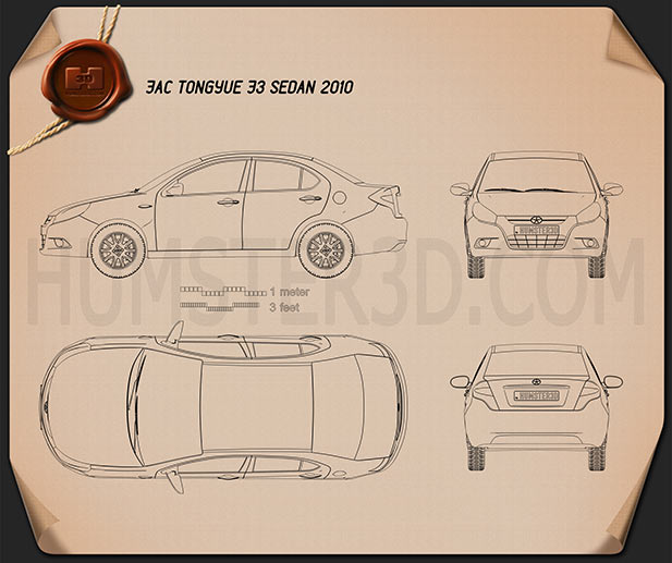 JAC Tongyue J3 sedan 2010 Blueprint