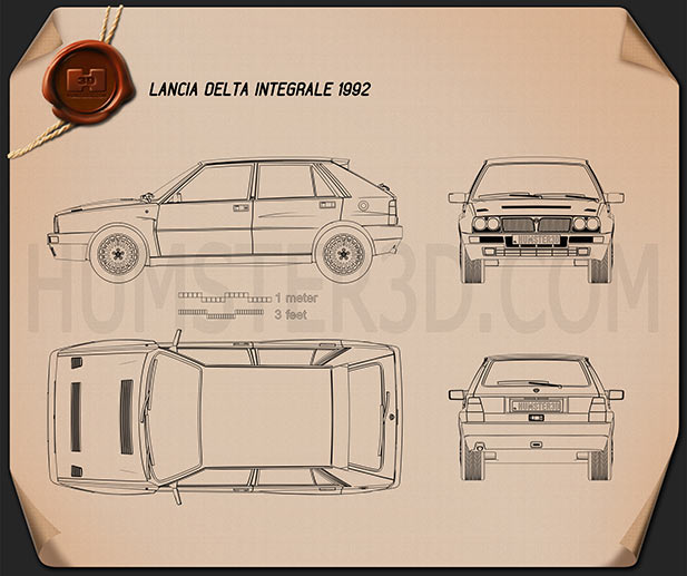 Lancia Delta Integrale 1992 Blueprint