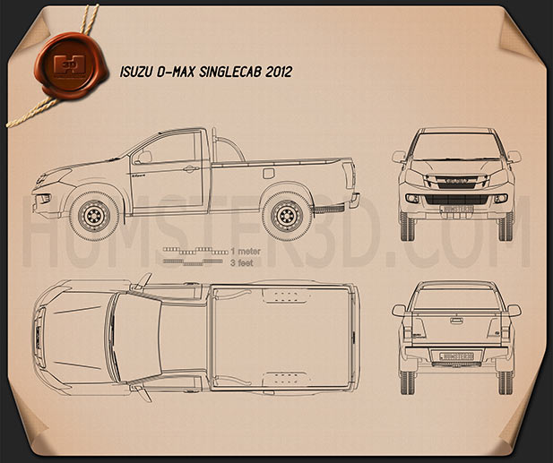 Isuzu D-Max Single Cab 2012 Blueprint