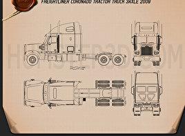 Freightliner Coronado Tractor Truck 2009 Blueprint