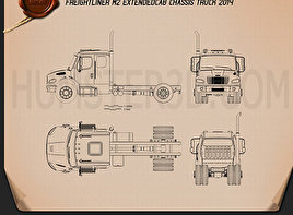 Freightliner M2 Extended Cab Chassis Truck 2014 Blueprint