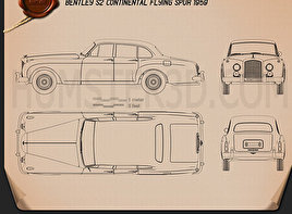 Bentley S2 Continental Flying Spur 1959 Blueprint