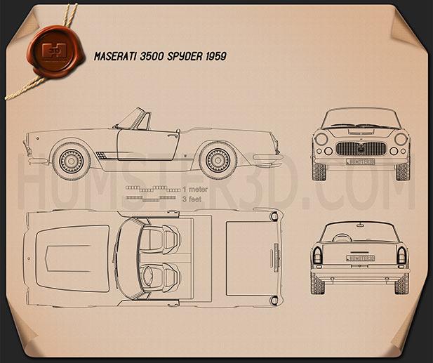 Maserati 3500 Spyder 1959 Blueprint