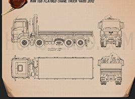 MAN TGS Flatbed Crane Truck 2012 Blueprint