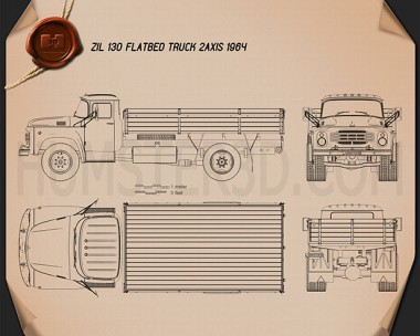 ZIL 130 Flatbed Truck 1964 Blueprint