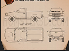 GMC Sierra Regular Cab Standard Box 2011 Blueprint