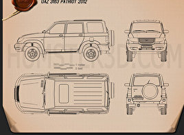UAZ Patriot (3163) 2012 Blueprint