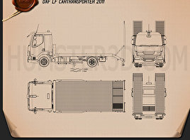 DAF LF Car Transporter 2011 Blueprint