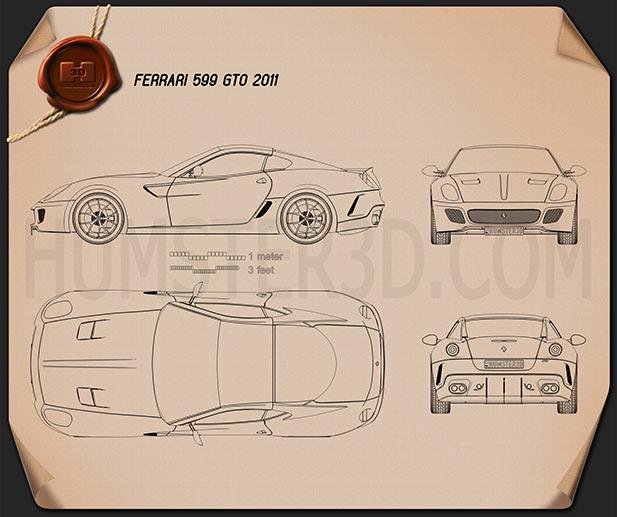 Ferrari 599 GTO 2011 Blueprint