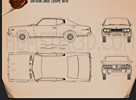 Datsun 260C coupe 1976 Blueprint