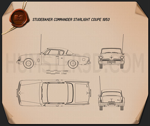 Studebaker Champion (Commander) Starlight Coupe 1953 Blueprint