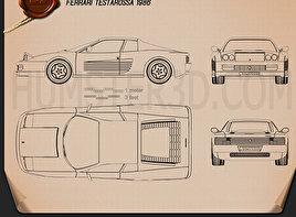 Ferrari Testarossa 1986 Blueprint