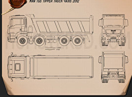 MAN TGS Tipper Truck 2012 Blueprint