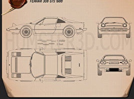 Ferrari 308 GTS 1975 Blueprint