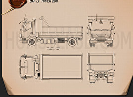 DAF LF Tipper 2011 Blueprint