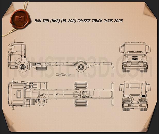MAN TGM Chassis Truck 2008 Blueprint