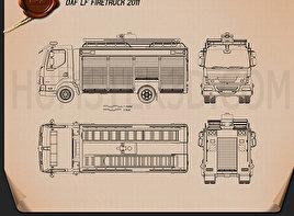 DAF LF Fire Truck 2011 Blueprint
