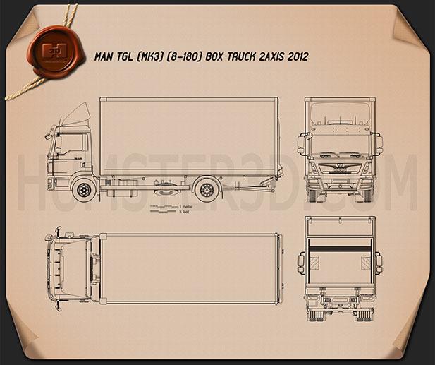 MAN TGL Box Truck 2012 Blueprint