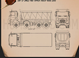 DAF CF Tipper Truck 2013 Blueprint