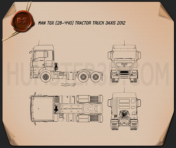 MAN TGX Tractor 2012 Blueprint