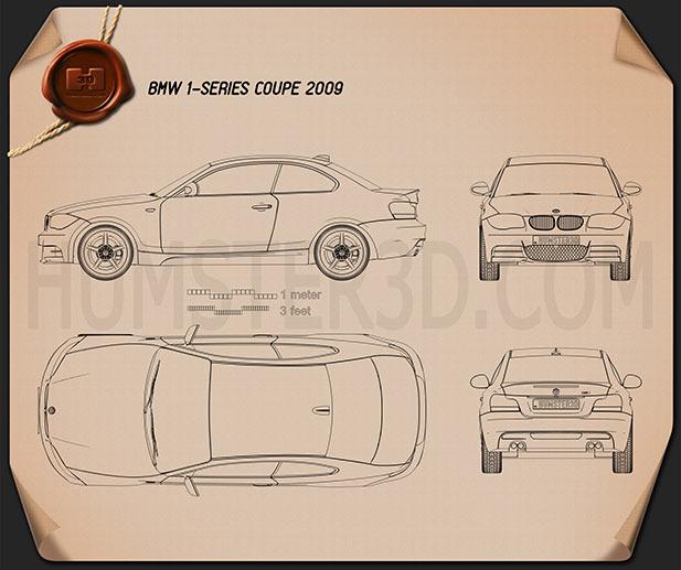 BMW 1 Series 3-door coupe 2009 Blueprint