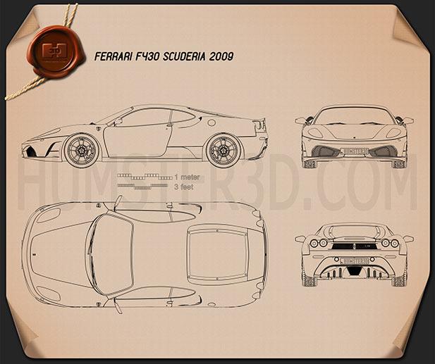 Ferrari F430 Scuderia 2009 Blueprint