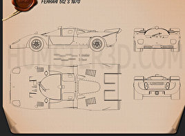 Ferrari 512 S 1970 Blueprint