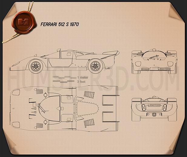 Ferrari 512 S 1970 Blueprint