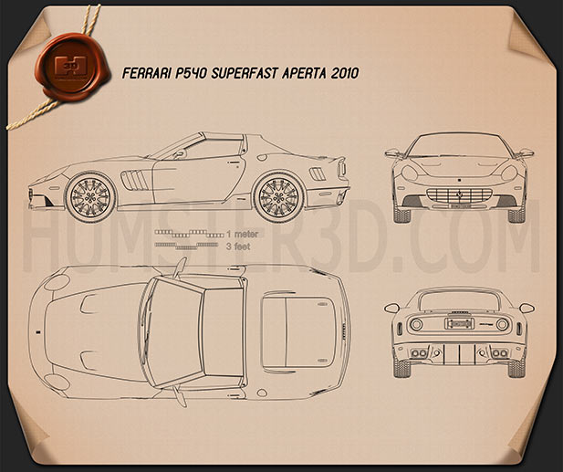 Ferrari P540 Superfast Aperta 2010 Blueprint